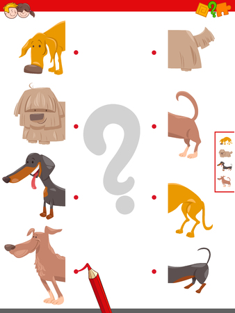 Cartoon Illustration of Educational Game of Matching Halves of Funny Dog or Puppy Characters Standard-Bild - 125196709