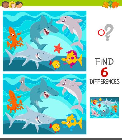 Ilustración de dibujos animados de encontrar seis diferencias entre imágenes Juego educativo para niños con divertidos personajes de animales marinos Ilustración de vector
