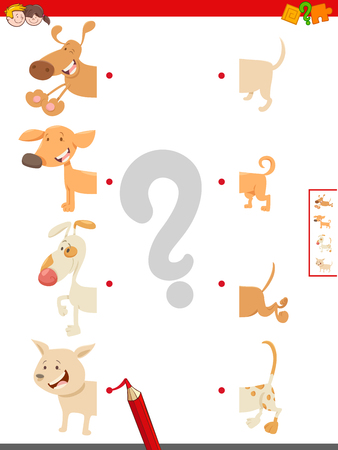 Cartoon Illustration of Educational Game of Matching Halves of Cute Dog or Puppy Characters Standard-Bild - 125196716