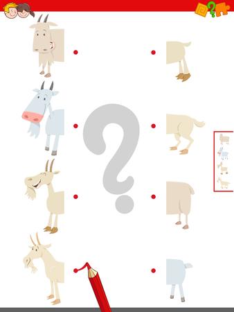 Cartoon Illustration of Educational Game of Matching Halves of Goats Farm Animal Characters Standard-Bild - 125175947