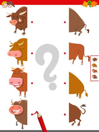 Cartoon Illustration of Educational Game of Matching Halves of Bulls Farm Animal Characters Standard-Bild - 125175950