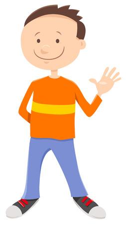 Cartoon Illustration of Funny Elementary Age or Teen Boy Character Illusztráció