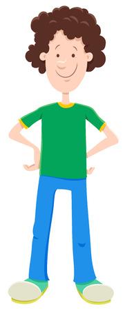 Cartoon Illustration of Funny Teen or Kid Boy Character