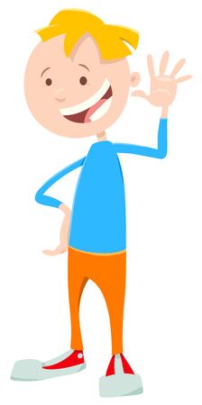 Cartoon Illustration of Cute Elementary Age or Teen Boy Character Illusztráció