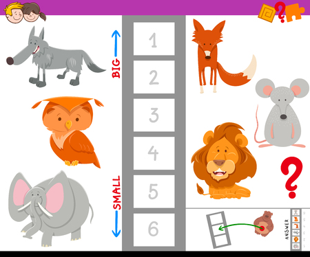 Cartoon Illustration of Educational Game of Finding the Largest and the Smallest Animal with Funny Characters