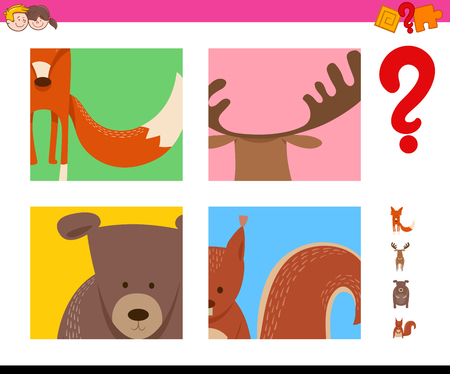 Cartoon Illustration of Educational Game of Guessing Wild Animals for Preschool Kids