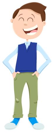 Cartoon Illustration of Happy Teen or Kid Boy Character Illusztráció