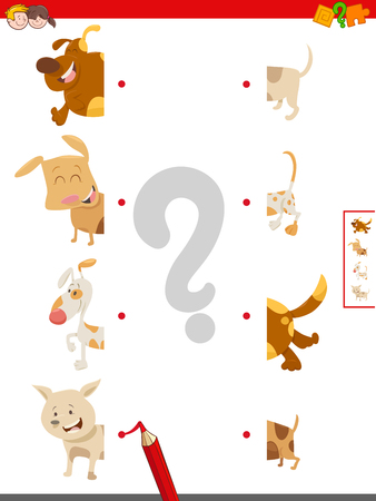 Cartoon Illustration of Educational Game of Matching Halves of Cute Dog or Puppy Characters