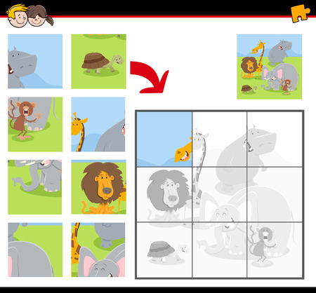 Cartoon Illustration of Educational Jigsaw Puzzle Game for Children with Funny Wild Animals Ilustração