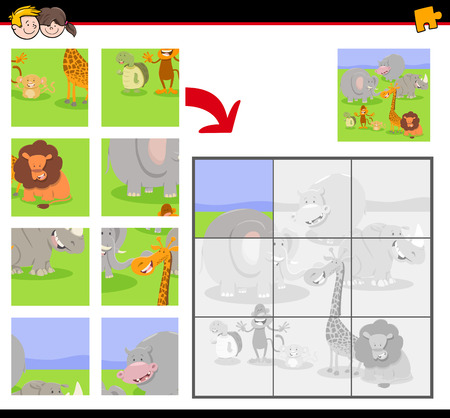 Cartoon Illustration of Educational Jigsaw Puzzle Game for Children with Happy Wild Animals