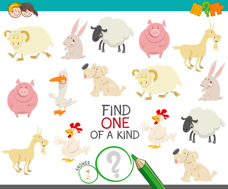 Cartoon Illustration of Find One of a Kind Picture Educational Activity Game with Happy Farm Animal Characters