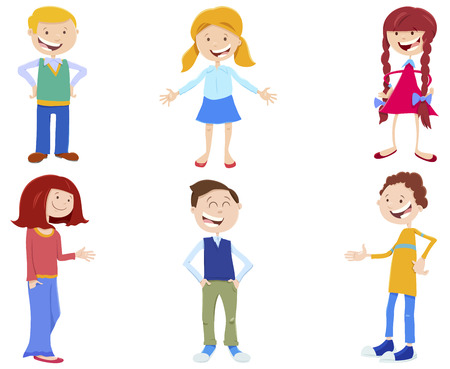 Cartoon Illustration of Funny Kids and Teenager Characters Set 向量圖像