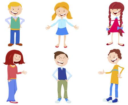 Cartoon Illustration of Funny Kids and Teenager Characters Set Illustration