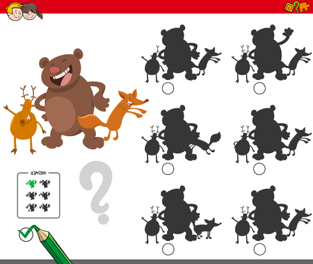 Cartoon Illustration of Finding the Shadow without Differences Educational Activity for Children with Funny Wild Animal Characters 일러스트
