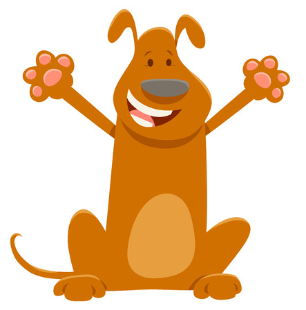 Cartoon Illustration of Funny Brown Dog Animal Character