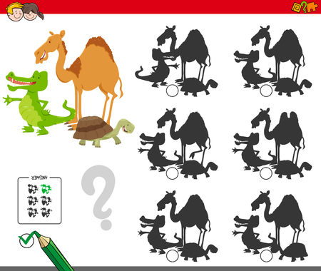 Cartoon Illustration of Finding the Shadow without Differences Educational Activity for Children with Wild Animal Characters