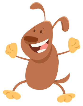 Cartoon Illustration of Happy Brown Dog Animal Character