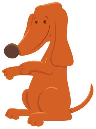 Cartoon Illustration of Cute Brown Dog Animal Character Çizim