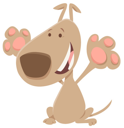 Cartoon Illustration of Happy Beige Dog Animal Character Çizim