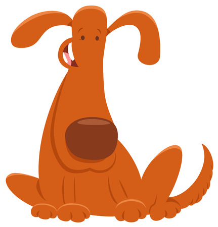 Cartoon Illustration of Funny Brown Dog or Puppy Animal Character