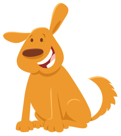 Cartoon Illustration of Happy Yellow Dog Animal Character Çizim