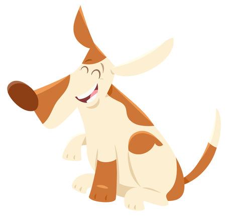 Cartoon Illustration of Happy Spotted Dog Animal Character Çizim