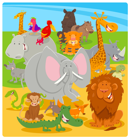 Cartoon Illustration of Cute Wild Animal Comic Characters Group