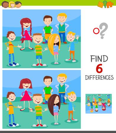 Cartoon-Illustration der Suche nach sechs Unterschieden zwischen Bildern Lernspiel für Kinder mit lustigen Kinder- oder Teenager-Charakteren-Gruppe
