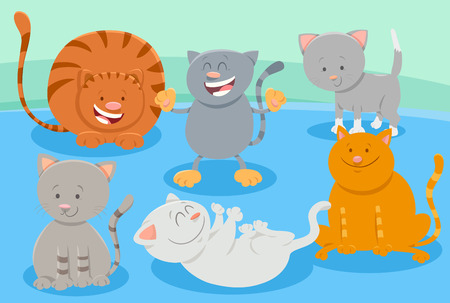 Cartoon Illustration of Cute Cats or Kittens Domestic Animal Characters Group