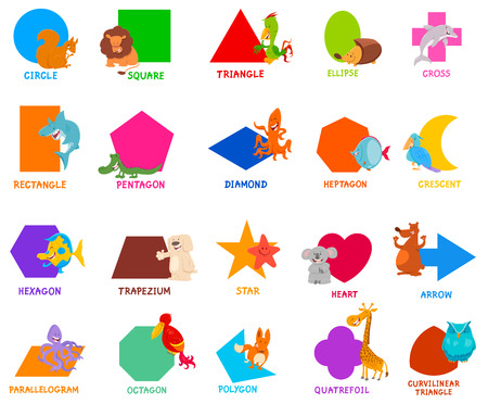 Cartoon Illustration of Educational Basic Geometric Shapes for Preschool or Elementary School Children with Cute Animal Characters Ilustração