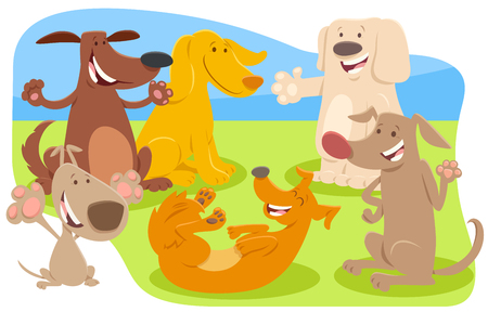 Cartoon Illustration of Dogs or Puppies Animal Characters Group