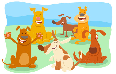 Cartoon Illustration of Dogs Animal Characters Group