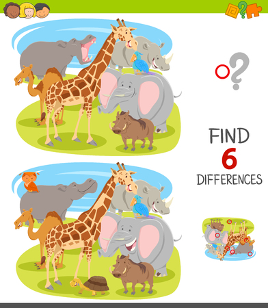 Cartoon Illustration of Finding Six Differences Between Pictures Educational Game for Kids with Funny Wild Animal Characters Group