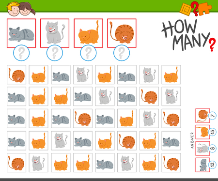 Illustration of Educational Counting Task for Children with Funny Cartoon Cat Characters