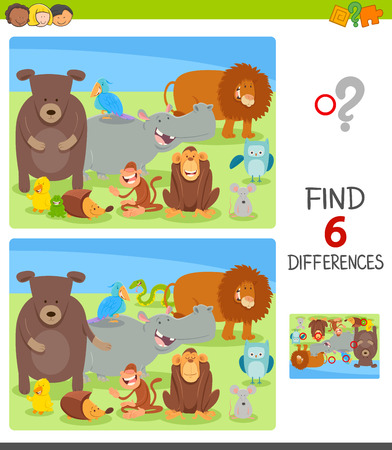 Cartoon Illustration of Finding Six Differences Between Pictures Educational Game for Kids with Happy Animal Characters Group 일러스트