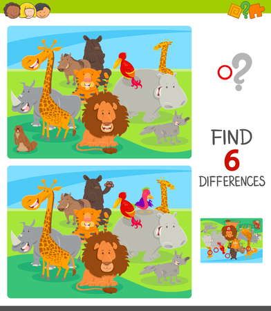Cartoon Illustration of Finding Six Differences Between Pictures Educational Game for Children with Happy Animals