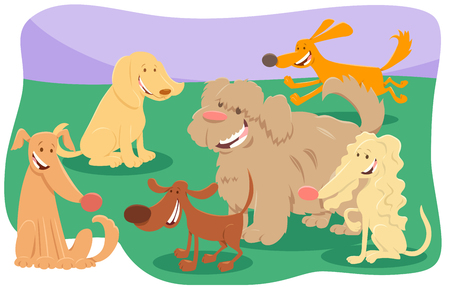 Cartoon Illustration of Cute Dogs and Puppies Pet Animal Characters Group