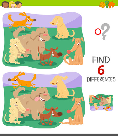 Cartoon Illustration of Finding Six Differences Between Pictures Educational Game for Children with Cute Dogs Group
