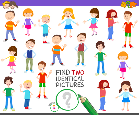 Cartoon Illustration of Finding Two Identical Pictures Educational Game for Children with Kids and Teens Characters