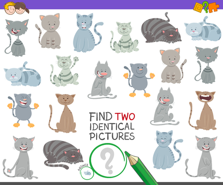 Cartoon Illustration of Finding Two Identical Pictures Educational Game for Children with Cute Cats and Kittens Funny Characters
