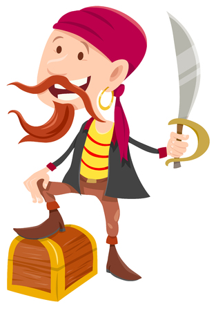Cartoon Illustration of Funny Pirate Fantasy Character with Treasure Chest and Saber
