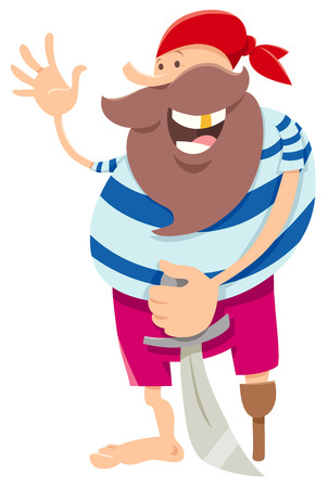 Cartoon Illustration of Funny Pirate Fantasy Character with Sword
