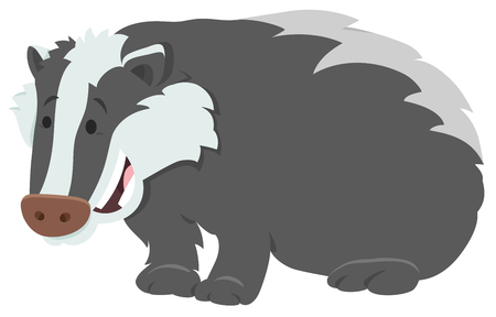 Cartoon Illustration of Funny Badger Wild Animal Character