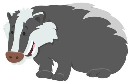 Cartoon Illustration of Funny Badger Wild Animal Character