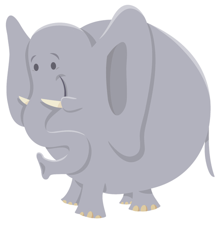 Cartoon Illustration of Funny African Elephant Wild Animal Character