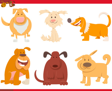 Cartoon Illustration of Funny Dogs or Puppies Pets Animal Characters Collection 向量圖像