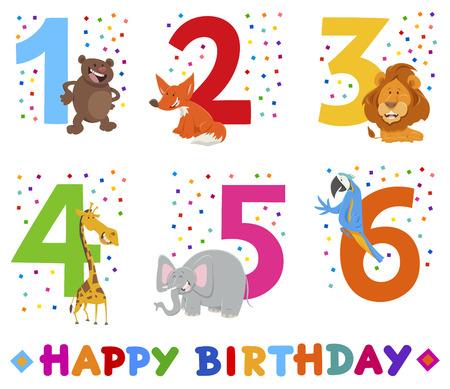 Cartoon Illustration Design of the Birthday Greeting Cards Set for Children with Funny Animals Ilustração