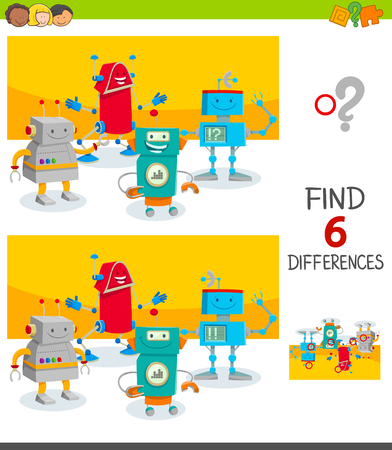 Cartoon Illustration of Finding Six Differences Between Pictures Educational Game for Children with Funny Robot Characters Group Vectores