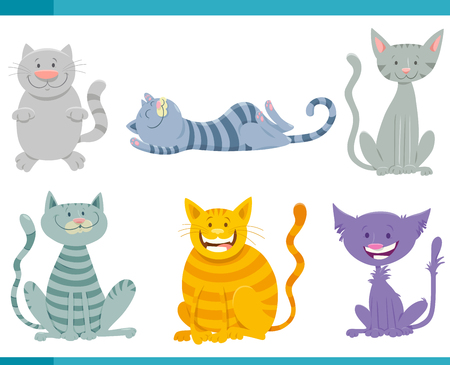 Cartoon Illustration of Cats or Kittens Funny Animal Characters Set