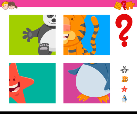 Cartoon Illustration of Educational Game of Guessing Animals for Preschool Kids Illustration